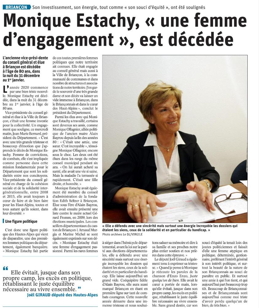 Lu sur le Dauphiné Libéré du 2 janvier 2020